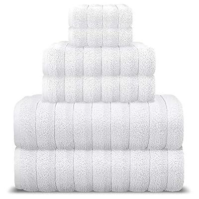 AROW9 Luxury Bath Towel Set 6 Piece 100% Turkish Cotton for Home Guest Bathroom & Spa - Premium Quality Soft & Absorbent - Hand, Wash & Bath Towels, Jacquard, Piles of Plush'' Design - White