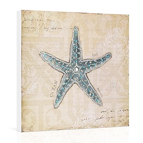 Wooden Beach Wall Decor 5D Diamond Starfish Ocean Wall Art Coastal Sea Bathroom Decor Teal Nautical Painting Light Yellow Boho Flowers Pattern Sign Farmhouse 12x12''