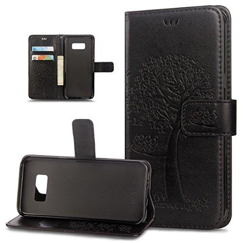 ikasus Coque Galaxy S7 Etui Motif de relief d'arbre à deux hiboux Cuir PU Housse Etui Coque Portefeuille supporter Carte de crédit Poches Flip Case Etui Housse Coque pour Galaxy S7,Noir