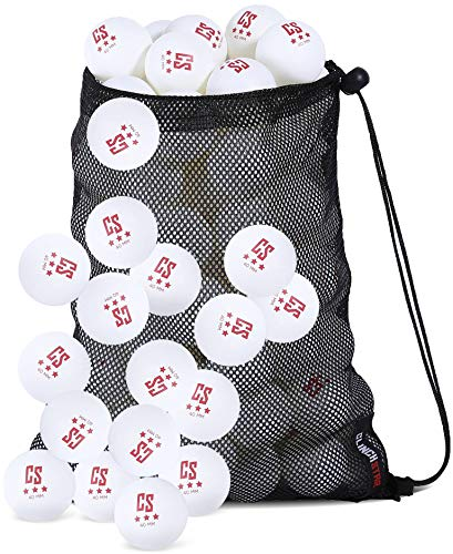 Clinch Star - Pelotas de Ping Pong (50 Unidades, para Tenis de Mesa, 3 Estrellas, 40 mm, con Bolsa de Transporte de Malla), Blanco