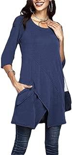Macondoo Women Solid Irregular Tee Plus Size Half Sleeve T-Shirts