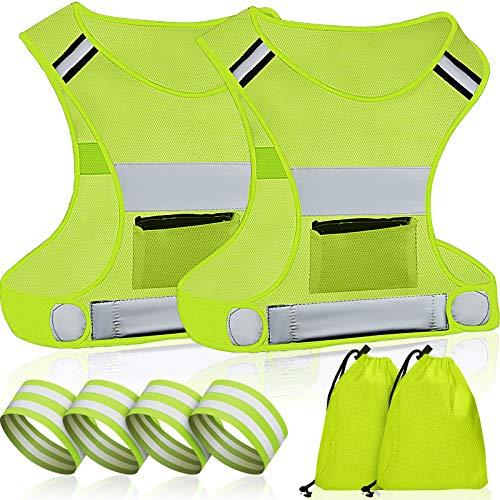 2 Sets Reflective Vest Running Gear Ultralight Breathable Runner Safety Vest for Running or Cycling with Armbands Bag Pocket Adjustable Waist Visible Gear Motorcycle Reflective Vest for Men Women