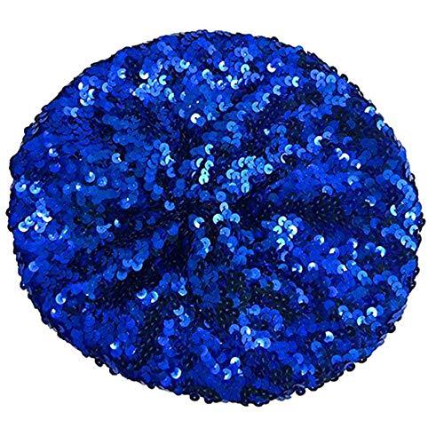 keland Sparkle Sequine Einstellbare Mütze Baskenmütze Hut Tanzen Tam Cap Silber (Blau)