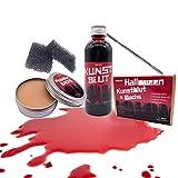 rnairni Halloween Plasma Makeup Spezialeffekt Haut Wachs and Filmblut, Narbenwachs 50g & Fake Blood...