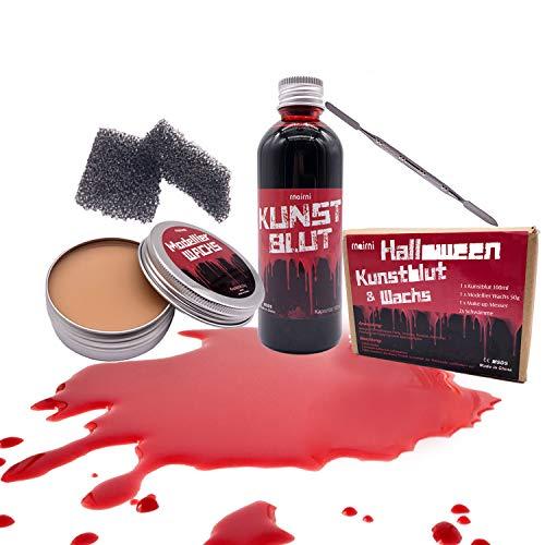 rnairni Maquillaje de plasma para Halloween, efecto especial para la piel, cera para cicatrices de 50 g y sangre artificial de 100 ml y esponja y espátula, para fiestas de Halloween, vampiro, zoombi
