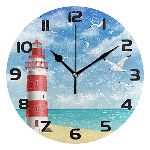 Hunihuni Wanduhr Marine Leuchtturm leise nicht tickende Uhr für Schlafzimmer Wohnzimmer Home Office Dekor