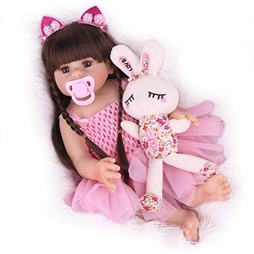 CHAREX Reborn Baby Dolls Girl, 18 Inch Full Body Silicone Baby Reborn Dolls, Lifelike Washable Waterproof Reborn Dolls, Realistic Newborn Baby Gifts for Kids Age 3+