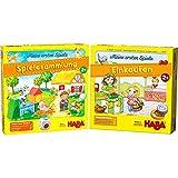 HABA Meine ersten Spiele – Spielesammlung, 10 erste Spiele auf dem Bauernhof für 1-3 Kinder & Meine ersten Spiele – Einkaufen, Spiel ab 2 Jahren mit 3D-Marktstand und Spielmaterial aus Holz