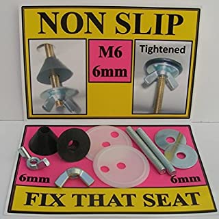 NON SLIP FITTINGS FOR FIXING LOOSE TOILET SEAT HINGES. FOR CHROME AND BRASS HINGES ON WOODEN, RESIN, PLASTIC, MAHOGANY, WHITE, OAK, NOVELTY SEATS. Fittings are M6 (6mm) (B005W1DNF6)   Amazon price tracker / tracking, Amazon price history charts, Amazon price watches, Amazon price drop alerts