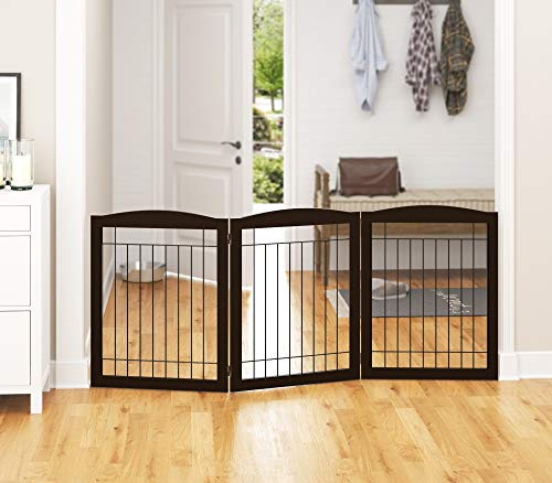 PAWLAND Extra Wide Dog gate for The House, Doorway, Stairs, Freestanding Foldable Wire Pet Gate, Pet Puppy Safety Fence,30' Height (Espresso, 3 Panels)