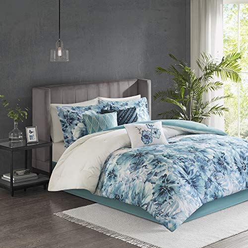 7pc King Slade Cotton Printed Comforter Set Teal