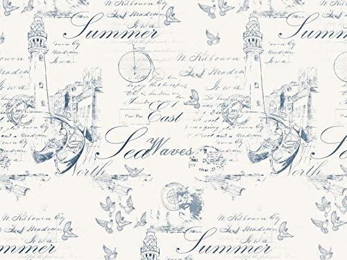Tela Decorativa de Lino LA Manche, diseño de Letras, Color Azul, Tela, Vende por Metros, Opaca, Estilo Marinero Vintage