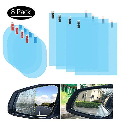8 Stücke Rückspiegel Regenschutzfolie, Regenschutzfolie Auto Regengeschützte Wasserdichte Spiegelfolie für Auto Spiegel und Seiten Fenster
