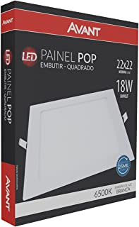 LED Painel Pop de Embutir Avant 18W Bivolt, Quadrado, Branco