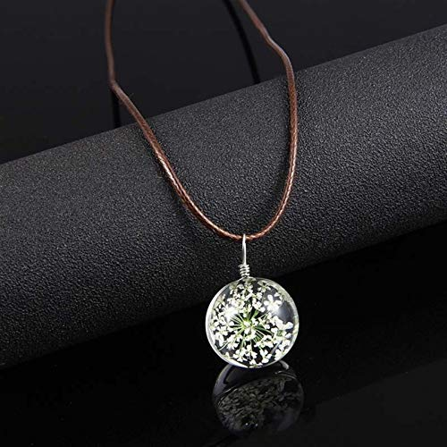 Earthily Handmade Necklaces Memorial Gift Memorial Necklace Dried Flower Pendant Necklace Glass Ball Leather Rope Chain Necklace For Women Good Luck Charm Jewelry (Color : White)