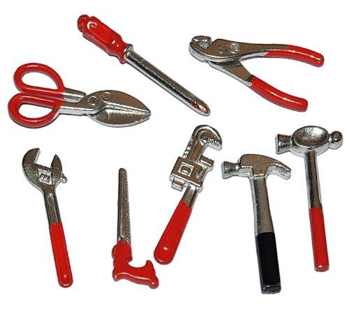 alles-meine.de GmbH Miniatur 8 TLG. Set Werkzeug - für Puppenstube Maßstab 1:12 - für Werkzeuge Puppenhaus Puppenküche Werkzeugkasten