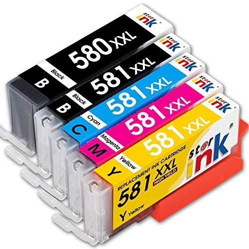 Starink Compatibile per Canon 580 581 XXL PGI-580XXL CLI-581XXL Cartucce d'inchiostro per Canon Pixma TR7550 TR8550 TS6150 TS6151 TS8150 TS8151 TS8152 TS9150 TS9155(PGBK/Nero/Ciano/Magenta/Giallo)
