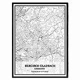 Bergisch Gladbach Deutschland Karte Wandkunst Leinwand