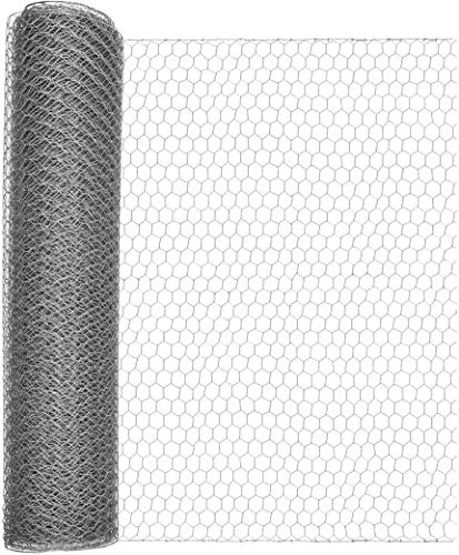Windhager Kleintiergeflecht verzinkt, Sechseck-Geflecht, Drahtzaun für Hasen und Hühner, Dachrinnenabdeckung, Maschenweite 25 mm, 10 x 0,5 m x 0,7 mm,70024