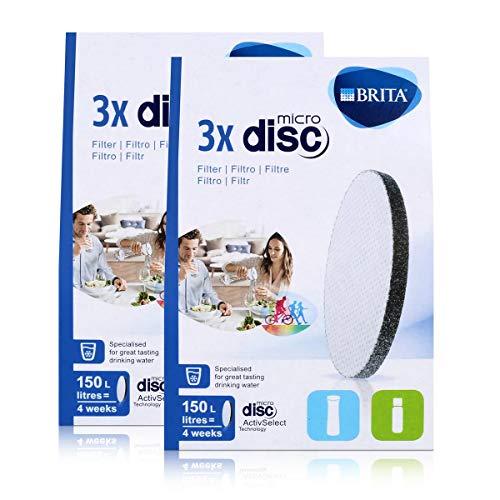 BRITA Lot de 3 filtres à eau MicroDisc - Compatible avec les bouteilles filtrantes BRITA fill&go et les carafes filtrantes BRITA fill&serve (lot de 2)