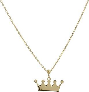 """Gioiello Italiano - Collana""""Corona"""" in oro giallo 14kt, lunghezza regolabile max 44cm, per donna e ragazza"""