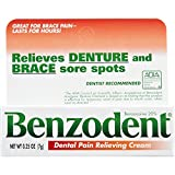 Benzodent Dental Pain Relieving Cream for Dentures and Braces, 0.25 Ounce Tube