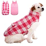 Kuoser British Style Plaid Dog Winter Coat, Windproof Cozy Cold Weather Dog Coat Dog Apparel Dog Jacket Dog Vest for Small Medium and Large Dogs with Pocket & Leash Hook Pink 3XL