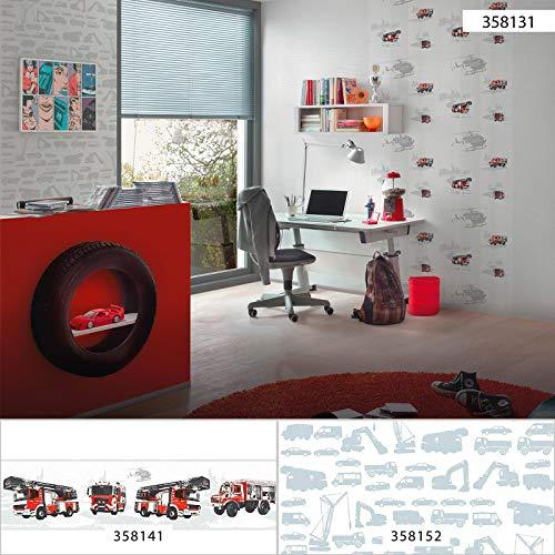 Tapete Feuerwehr Weiß Rot 358131 | Kinderzimmer-Tapete Jungen Feuerwehr 35813-1 | Vliestapete für Jungen, Kinderzimmer, Jugendzimmer | online kaufen!