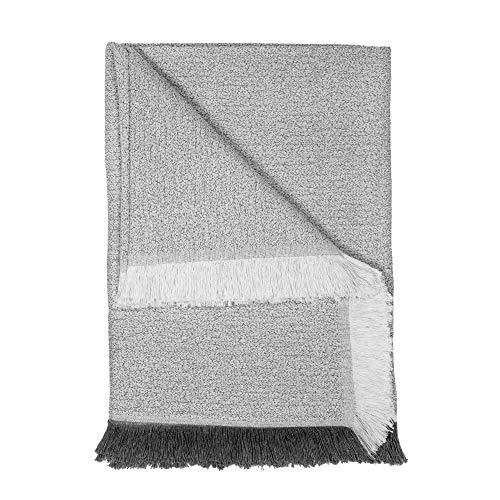 Basic Home Plaid/Foulard Multiusos - Cubre Cama - Sofa - Manta algodón Suave 180x270 cm Gris
