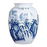 RTYHN Jarrones Decorativos para el Hogar,Florero de Cerámica Blanco,Jingdezhen Jarrón de Porcelana Azul y Blanco,Estilo de China Ming,Altura 36cm
