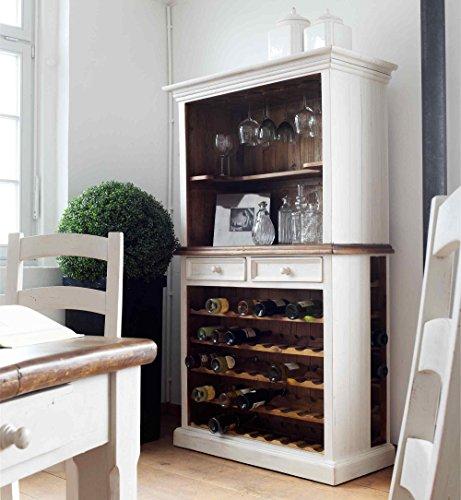 lifestyle4living Buffet, Buffetschrank, Landhaus, Anrichte, Esszimmerschrank, Esszimmervitrine, Küchenschrank, Vitrinenschrank, Landhausstil, weiß, honigfarben