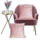 Wende Kissenbezüge, quadratische dekorative Samtkissenbezüge, 45x45cm, 2er-Set(Rosa)