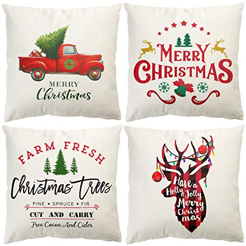 Baccessor Christmas Throw Pillow Covers, 18x18 Inch Truck Xmas Quote Tree Reindeer Decorative Farmhouse Rustic Winter Holiday Pillowcase Cotton Linen Cushion Case for Car Sofa Bed Couch, Set of 4