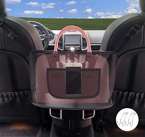 J.Y.Memorize Car Net Pocket Handbag Holder Between Seats, Car Purse Storage Holder , Handbag Holder for Car Pocketbook, with 2 Car Hooks