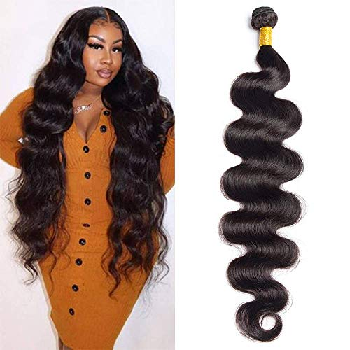 Maxine Brazilian Long Body Wave Virgin Human Hair 1Bundle 28 Inch 100% Unprocessed Hair Weave Bundles Extensions Deals 10a Natural Color