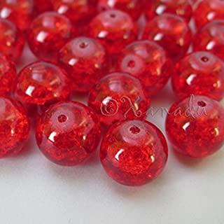 OutletBestSelling Pendant Bracelet Red Wholesale 12mm Round Crackle Glass Beads 50pcs