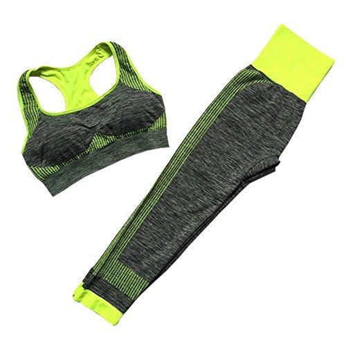 XFentech Femmes Sportswear Costume sans Couture Soutien-Gorge + Leggings 2pcs Ensemble Gym Workout Yoga Courir Fitness Tenues, Style-D-2/S