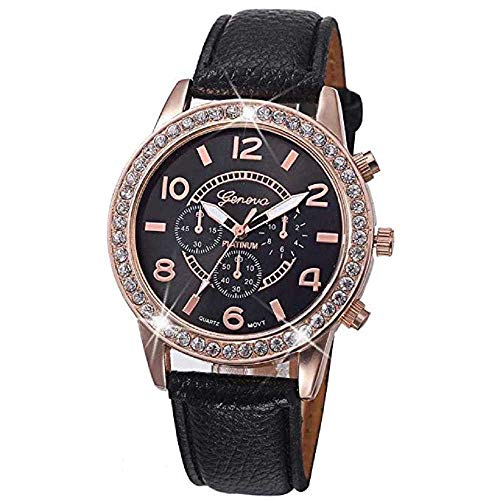WSSVAN Reloj Clásico para Mujer Ginebra Escala Romana Reloj para Mujer Diamante Simulación Cuero Reloj de Cuarzo Luminoso Pulsera Deportiva Simple Reloj de Moda (Negro)