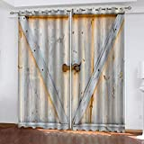 KJQTEN Blackout Curtains for Bedroom 200x214cm( W x H ) 2 Panels Curtains For Bedroom Eyelet Printed Blackout Curtains Thermal Eyelet Panels Creative Wooden Door For Kids Living Room Curtains