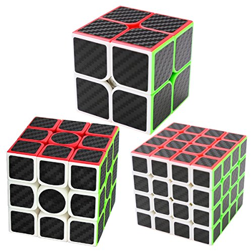Coolzon Puzzle Cubes 3 Pezzi 2x2x2 + 3x3x3 + 4x4x4 Magico Cubo con Adesivo in Fibra di Carbonio Nuovo velocità