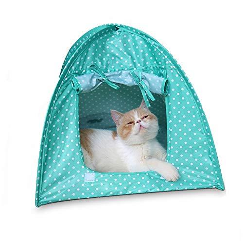 lffopt katzenzelt hundezelt Indoor Hundehütte Hundezeltbett Pop Up Hundezelt Hundebett im Freien Hundebett mit Sonnenschirm Faltbares Katzenbett Green