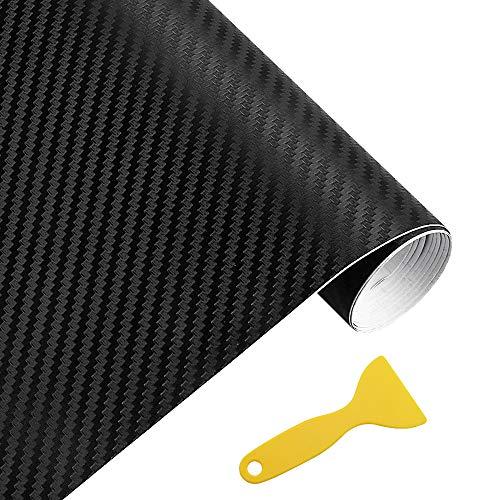 MZMing 3D Auto Folie Carbon mit Kunststoffschabern Blasenfrei 30 * 152cm Autofolie Schwarz Selbstklebend Aufkleber Vinyl Schutz Folie für Auto Motorrad Laptops Handys PC-Gehäusen (Schwarz)