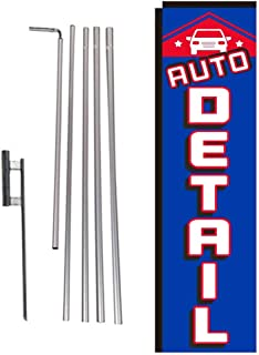 Auto Detail Rectangle Feather Banner Flag with Pole Kit and Ground Spike for Car Wash, Auto Detail, and Hand Wash Business Owners