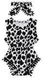 0-3 Months Newborn Baby Onesie Softy Rompers of Cow Print Black Comfy Pom Pom Jumpsuits Breathable Infant Outfit Clothing with Headband Suitable for All Season