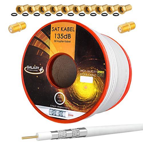 HB-Digital Set 25m Koaxial SAT Kabel 135db Weiß + 10x F-Stecker & 2X F-Verbinder vergoldet | CU Kupfer Satellit Antennenkabel 5-Fach geschirmt für DVB-S/S2 -C/C2 -T/T2 DAB+ Radio BK Anlagen