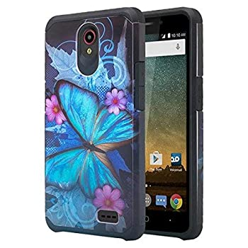 SPYCASE for Compatible for ZTE Maven 3  Z835  Case/ZTE Overture 3 Case/ZTE Prelude Plus  4G LTE  Case w/[Tempered Glass Screen Protector] Soft Silicone Slim Hybrid Phone Case - Blue Butterfly