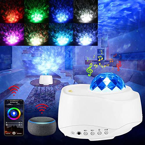 Proyector LED de cielo estrellado con Alexa Echo, WiFi, con control de voz, temporizador, APP, mando a distancia, 4 colores, 27 modos de proyección para niños, adultos, Navidad