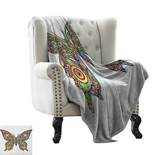 BelleAckerman Manta de Picnic con Mariposas, diseo de Mariposas y Animales, ecologa, diseo de Dibujos Animados, sper Suave y clido, Manta Duradera