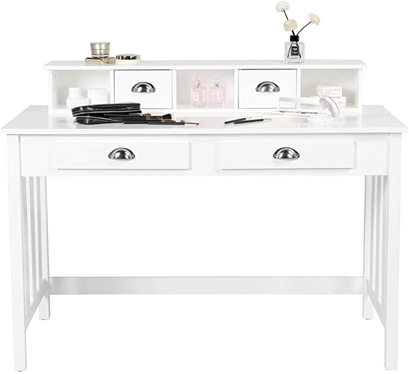 Go2buy White Wooden Writing Desk Student Table With 4 Drawers 2 Tier Home Office Computer Desk Spacious Workstation Writing Study Table