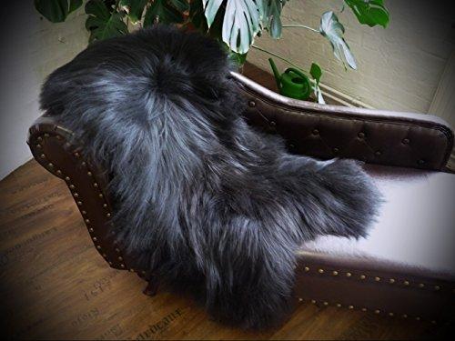 Öko Island Schaffell Lammfell Fell schwarz 130-140cm